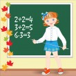 Back to school.  Schoolgirl on the lesson of mathematics. - Stock Vector