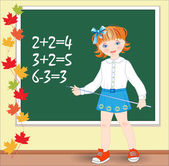 Back to school. Schoolgirl on the lesson of mathematics. — Stock Vector