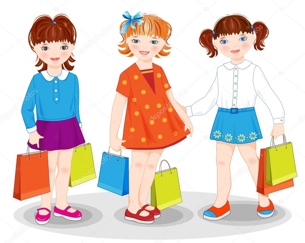 Little girls with bags. Shopping. — Stock Vector #12671407