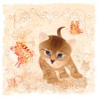 Vector de stock : Birthday card with little kitten, flowers and butterflies