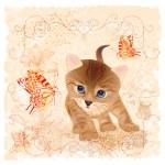 与小小猫、 花卉和蝴蝶生日贺卡 — 图库矢量图片