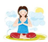 Güzel bir genç kadın meditasyon yoga lotus çizimi — Stok Vektör
