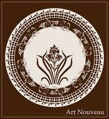 アイリスの花を持つアール ヌーボー デザイン — ストックベクタ