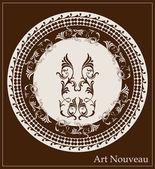 Art nouveau design for decorative plate — Stock Vector