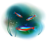 Neon fish in the sea — Stock Vector
