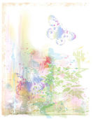 Watercolor background with butterflies — Stock Vector