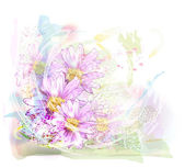 Watercolor background with chrysanthemums — Stock Photo