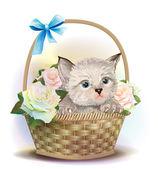 Illustration av fluffiga kattunge sitter i en korg med ros — Stockvektor