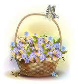 Wicker basket with violets. Victorian style. — Stock Vector