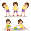 Stock Vector: Little girl doing morning exercises