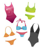 Set of the swimsuits for girls — Stock Vector