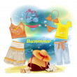 Collection of clothes for the summer holidays  — Stock Vector
