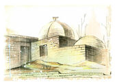 Hand drawn illustration of the muslim architecture — Stok Vektör