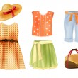 Set of summer clothes for girls — Stock Vector