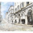 Illustration of city street. Watercolor style. — Vettoriali Stock