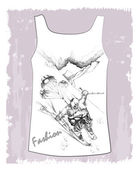 Shirt with hand drawn sketch of the fantastic skier — Stock Vector