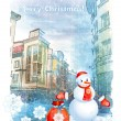 Christmas greeting card with snowman  — 图库矢量图片