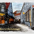 Illustration of snowy street. Christmas greeting card. — Stockvektor