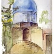 Hand drawn watercolor illustration of muslim architecture — Stock vektor