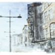 Cтоковый вектор: Watercolor illustration of city scape