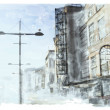 Wektor stockowy : Watercolor illustration of city scape