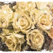 Vintage watercolor background with roses yellow roses. — Stock Vector