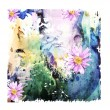 Abstract watercolor background with flowers — Stock Vector #45025439