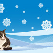 Tabby cat on the winter background — Stock Vector #4656683