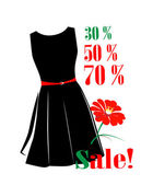 Sale poster with percent discount and black dress — Stock Vector