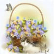 Kitten and basket with violet flowers — Wektor stockowy  #49121851