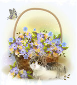Kitten and basket with violet flowers — Stock Vector