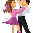 Cartoon boy and girl dancing — Stock Vector