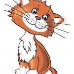 Cartoon little kitten — Stock Vector