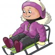 Girl riding on a sledge - Stock Vector