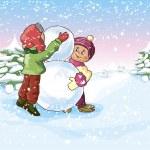 Boy and a Girl make a Snowman — Stock Vector