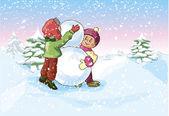 Chico y una chica hacen un muñeco de nieve — Vector de stock