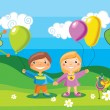 Boy and a girl with a balloons — Stock Vector