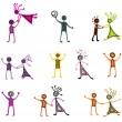 Drawing pictograms of dancing people — Stock Vector