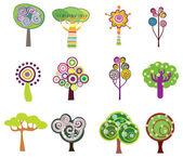Decorative trees icons — Stock Vector