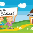 Back to school template with kids — Stockvectorbeeld