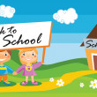 Back to school template with kids — Stock Vector