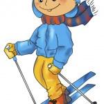 Skiing boy — Stock Vector