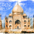 Stock Photo: Vector Illustration of Taj Mahal, India
