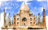 Vectorillustratie van taj mahal, india — Stockfoto