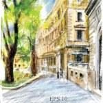 Illustration of city street. — Stock Vector