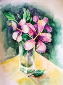 Bouquet de fleurs dans un vase de verre — Vecteur
