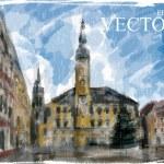 Illustration of Christmas city street. — Stock Vector