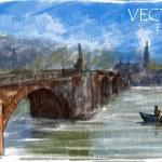 Illustration of city bridge — Stock Vector