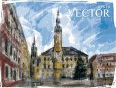 Illustration of Christmas city street.  — Vector de stock