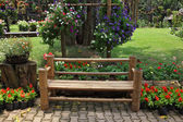 A flowers and a bench — Stock Photo